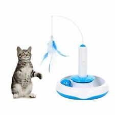 Cat Toy Interactive Electric Rotate Feather Teaser Wand Motion Kitten Christmas