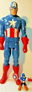 Captain America 11 Inches Tall And Small Captain America 2 1/2 Inches Tall