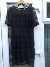 MARKS AND SPENCER CLASSIC BLACK LACE STYLE DRESS UK 14