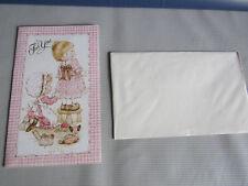 "Vintage English Cards Ltd Sarah Kay Two Girls Sewing Hem Dress ""For You"" Friend"