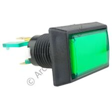 Rectangular Illuminated Arcade Button - Green with 12V LED and 4.8mm Microswitch