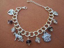 German Shepherd Dog Charm Bracelet with Purple & Silver Swarvoski Crystals