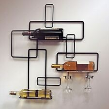 Modern Iron Wall Mounted Wine Rack Storage Bar Accessory Bottle Holder