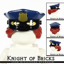 LEGO Minifigure BLACK Hat DARK RED Pulled Combo Hair Police DARK BLUE Top