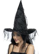 Chapeau de sorcière noir avec filet