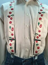 "New, Men's, Cherries on Beige, XL, 2 "",  Adj. Suspenders / Braces, Made in USA"
