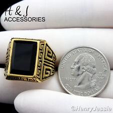 MEN Stainless Steel Gold/Black Greek Key Rectangle Onyx Ring Size 7-13*AGR86