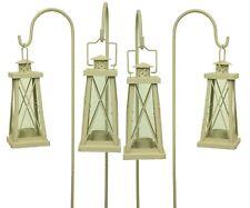 Set of 4 Cream Tea Light Garden Lantern with Shepherds Crooks