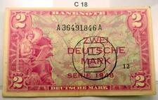 RARE 1948 B GERMANY FED. REPUB. 2 MARK NOTE US ARMY COMMAND SERIAL A/A P.3b #C18