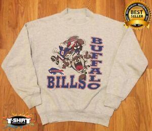 Buffalo Bills Sweatshirt 90s 2021 Sport Super Bowl Football NFL Gray Cotton Tee