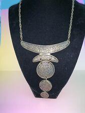 Antique Gold Bronze Tone Ethnic Bib Necklace Chain