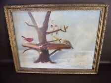 Vintage Original Framed Painting Birds In Winter Signed By J. Bromfield