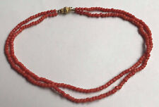 Antique natural coral beads necklace with yellow metal clasp
