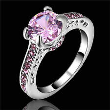 Women's Size 9 Cute Pink Sapphire white Rhodium Plated Ring Gift