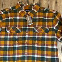 New PATAGONIA Men's L Fjord Flannel Heavy Long Sleeved Shirt Observer: Wren Gold