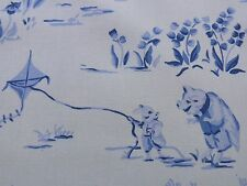SCALAMANDRE LIFE ON TOP OF CRANBERRY HILL BLUE ANIMAL CAT FROG PIG TOILE BTY