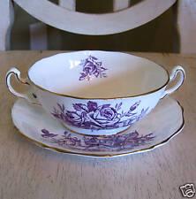 Adderley Bone China Purple Rose Handled SoupBowl+Saucer