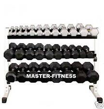 "3 Tier Rack 60"" W/ 2-75LB Rubber Dumbbell Set"