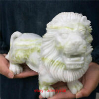 8-9LB Natural green jade lion hand carved crystal healing random 1pc