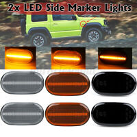 Dynamic LED Side Marker Indicator Light Turn Signal Lamp Smoked For Suzuki JIMNY