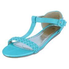 Sandalias y chanclas de mujer planos azules, talla 38