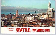Greetings from Seattle, Washington Skyline Smith Tower Chrome Postcard Unused