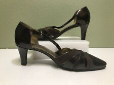 Hush puppies WOMAN LADIES brown PATENT HIGH HEEL CAREER POINTED TOE SHOE size 8