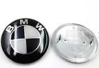 NEW BMW 82mm Black and white Silver  Emblems Trunk Hood Badge Logo Set
