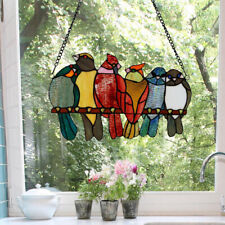 Colorful Birds on Wire Stained Glass Window Panel Sun Catcher w/Hanging Chain