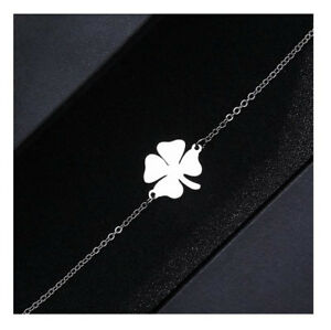 Stainless Steel Chain Bracelet Clover Lucky Charm Chain Silver-Coloured