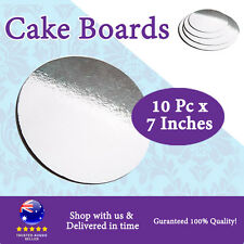 "Cake Board 10 PC X 7 Inches"" Round Silver Board Cardboard"