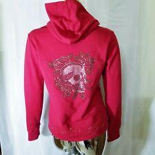 Ed Hardy Womens Red Poker Skull Roses Zip Up Hoodie Sweatshirt Small