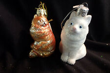 """Cat ornaments Persian, Birman, 3 1/2"""" tall, glass"""