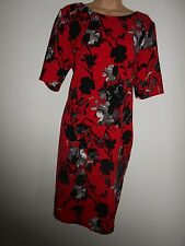 DEBENHAMS COLLECTION RED BLACK WHITE FLORAL TUNIC OCCASION DRESS 14