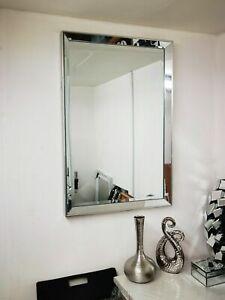 Silver frame Decorative Mirror 90x60cm Rectangular Bathroom Wall Makeup Glass