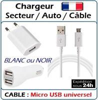 Kit chargeur SECTEUR + AUTO 2 ports + CÂBLE MICRO USB UNIVERSEL NOIR ou BLANC
