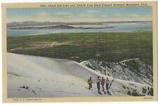 Great Salt Lake from Wasatch Mountains, Utah, Unused Vintage Linen Postcard