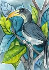 ACEO Original Art Card Long Beak Birds Tree Leaves Animal 100% Hand Painting