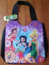 "Disney Princess Fairy Tinkerbell & Fairies Black Canvas 14"" Tote Bag Pocketbook"