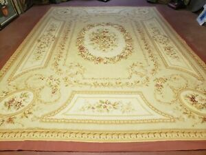 9' X 12' Hand Made AUBUSSON Weave Needllepoint Flat Pile Wool Rug Nice