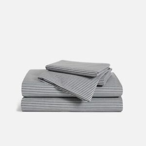 Brooklinen Luxe Core Percale Sheet Set (Full) - Graphite and Steel Oxford Stripe