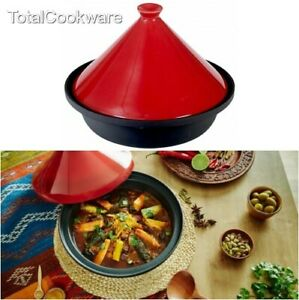 Victor Cast Iron Tagine with Red Ceramic Lid, Cast Iron Base 30x30x22.5 cm