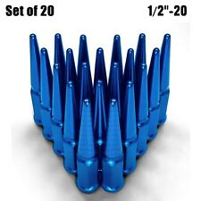"Blue 4.5"" Long Spike Lug Nuts 1/2""-20 RH Thread SCM Steel Fit Chevy C10 G10 5BL1"