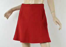 Anthropologie MEADOW RUE Solid Red Felted Wool Blend Flounced Mini Skirt M 8