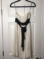 DIANE VON FURSTENBERG Sz 2 Cream, Black Tie, Short Strapless Dress A10