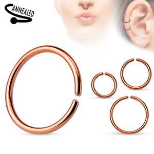 Cartilage Tragus Septum Nose Hoop Ring C Shaped Titanium Annealed 14,16,18,20 G