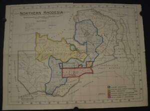 NORTHERN RHODESIA 1929 N.C. DICKIE ORIGINAL VINTAGE COLORED LITHOGRAPHIC MAP