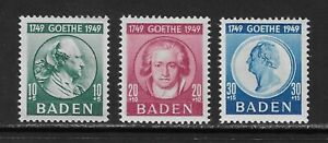 GERMANY - BADEN - 1949 - BIRTH BICENTENARY GOETHE (POET) - SET 3V - MNH