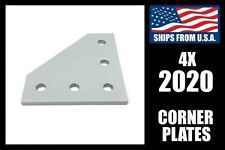 Qty 4 Corner Bracket Plates for 2020 Framing, 90 Degree Aluminum Extrusion Joint