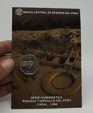 1 SOL 2014 COIN BLISTER RIQUEZA ORGULLO  PERU CIUDAD SAGRADA DE CARAL # 16 UNC
